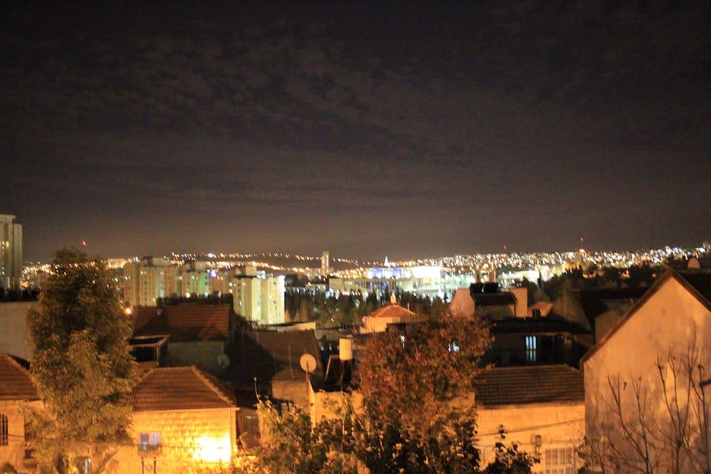 Nighttime balcony view