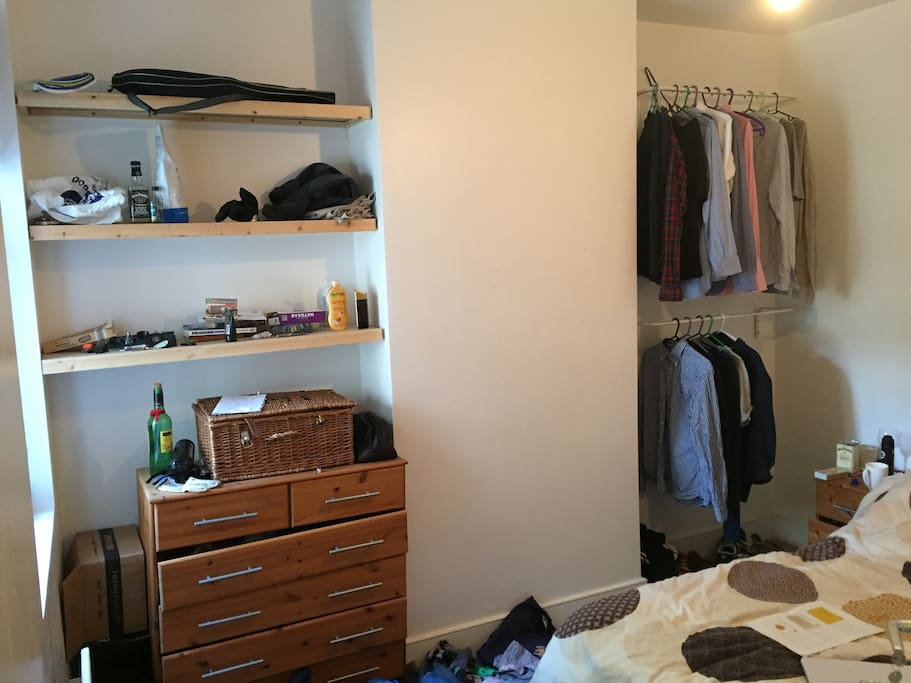 Shelves, open wardrobe and drawers