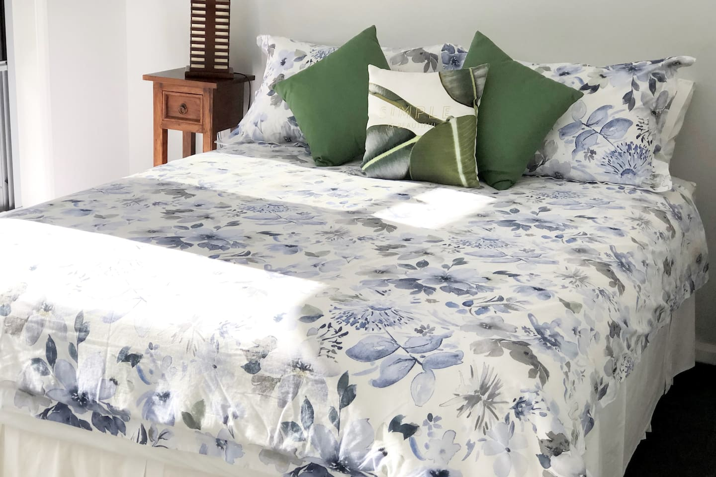 The Queen Bedroom accommodates two people Comfortably with Air-conditioner if liked.