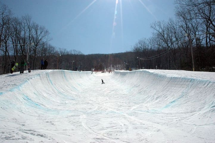 half pipe on the mountain