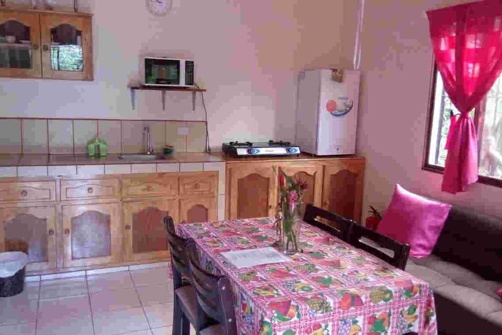 Le salon avec coin cuisine