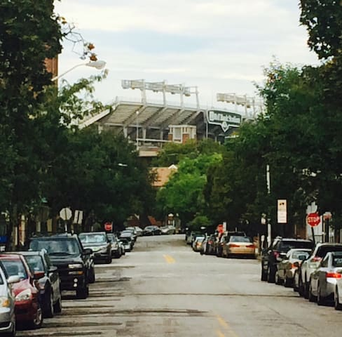 View of M&T Stadium outside the door, less than half mile away.