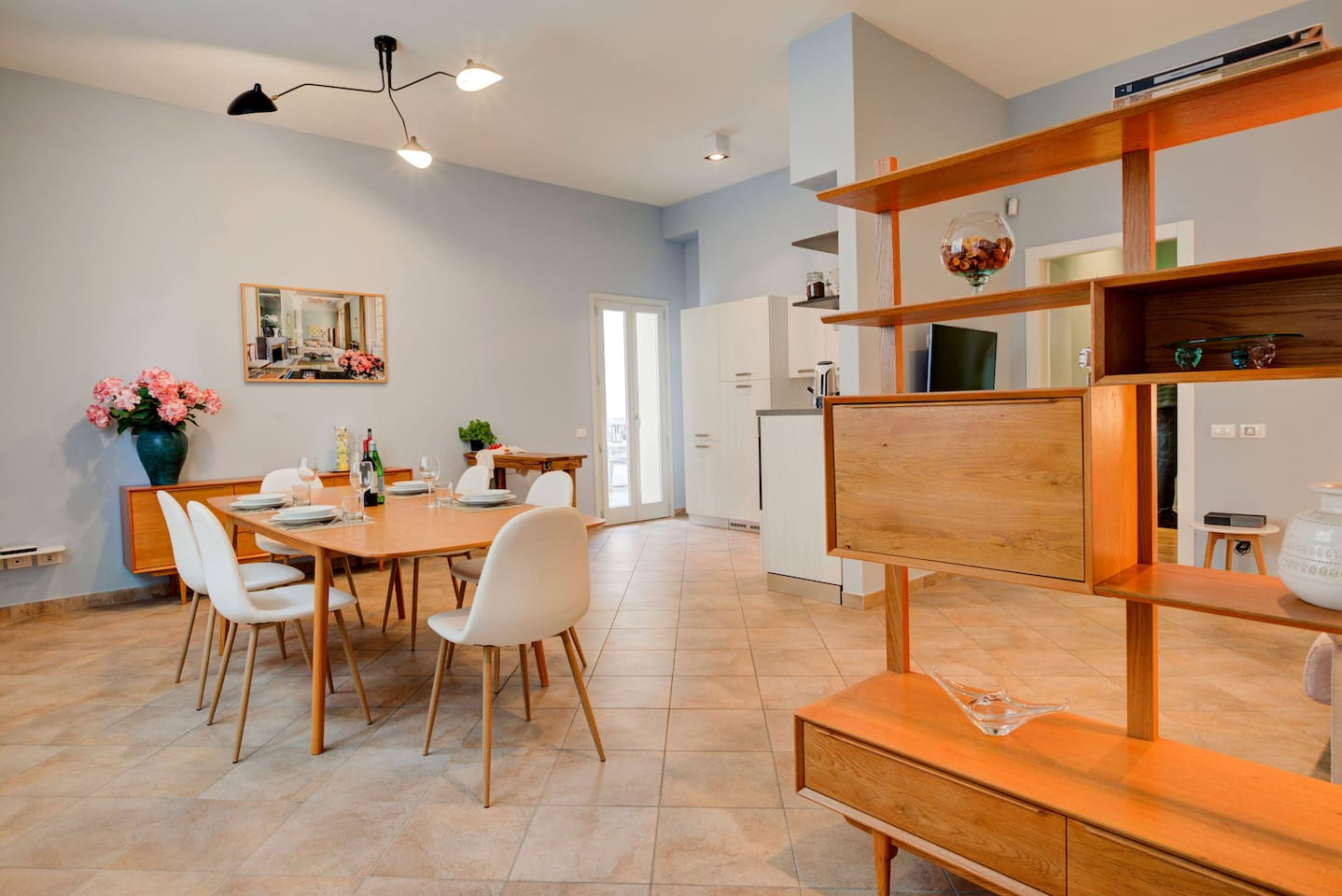 Our spacious and fashion dining area connected with your private patio, kitchen and living area