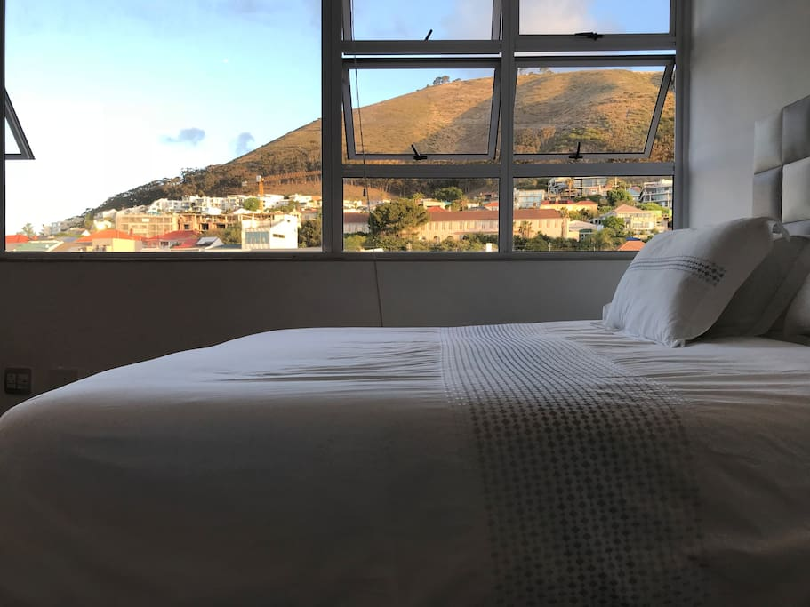 350 thread count cotton linen for our comfy queen size bed with a view.