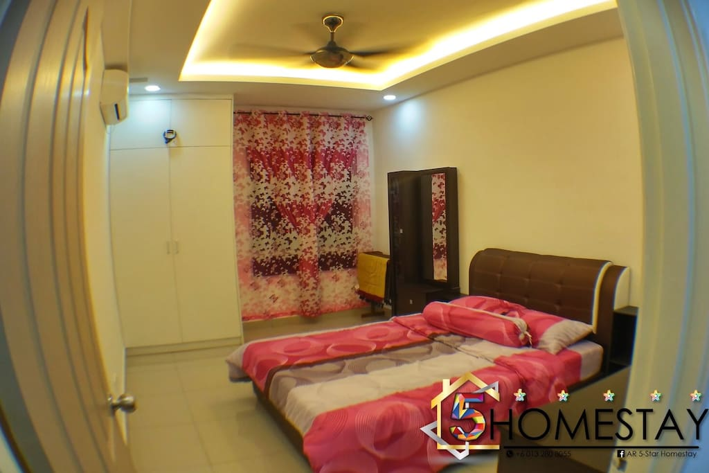 Bedroom with Queen Bed + Air Conditioner