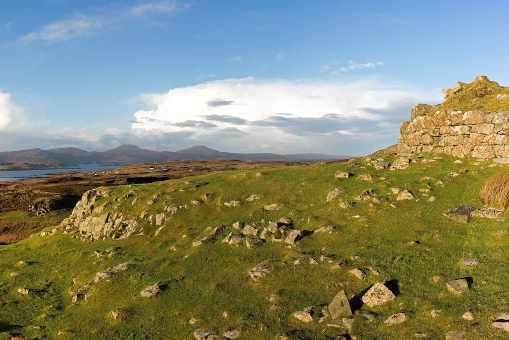The view from the Dun Beag iron age broch 1.5 miles away looking back towards Foxwood