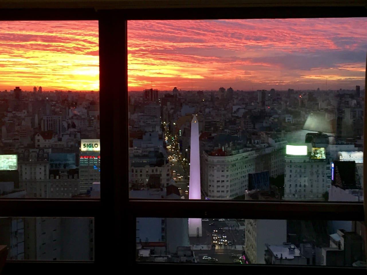 Vista de la ciudad desde el apartamento.