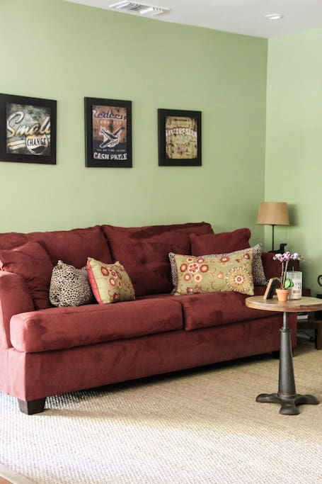 Guest house living room area - couch is a queen sleeper