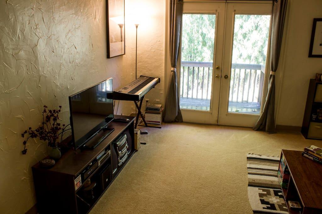 Living Room - media center (TV, soundbar, Roku media)