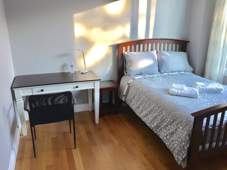 Work desk and double bed