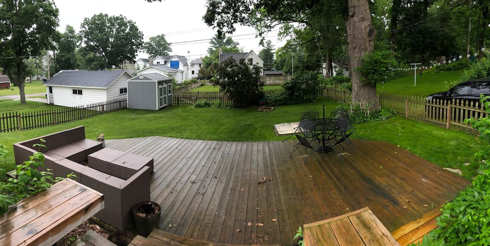 Large back yard with patio