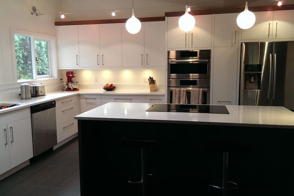 You are most welcome to use the completely modernized kitchen .  We kept the original layout but brought it really right up to date.