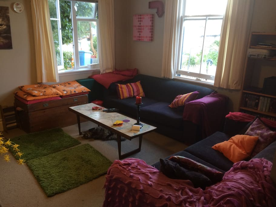 Comfortable & sunny lounge, perfect for lounging in, with a heat pump to keep it cosy in winter.