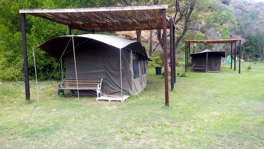 Three Safari tents with double-beds