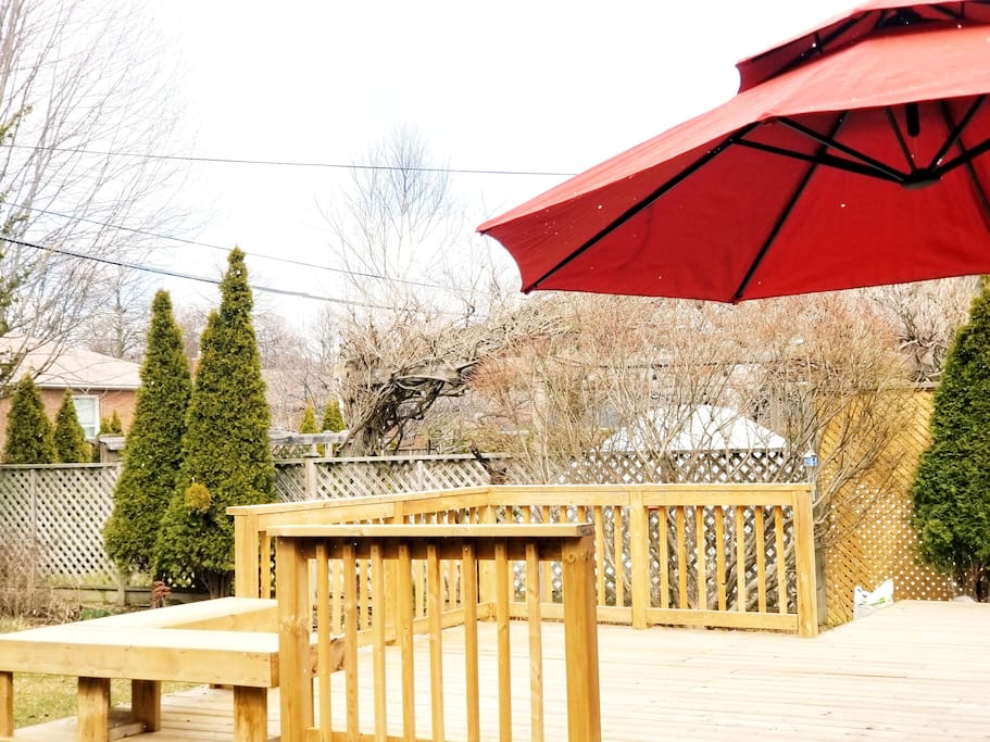 Huge Deck with Parasol and Bench