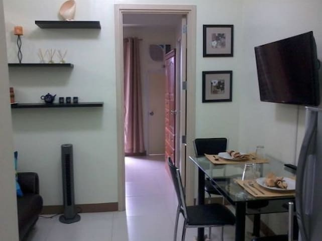 Living and dining area with cable tv and wifi