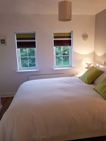 king sized bed in bedroom 1. front of house view to the green.