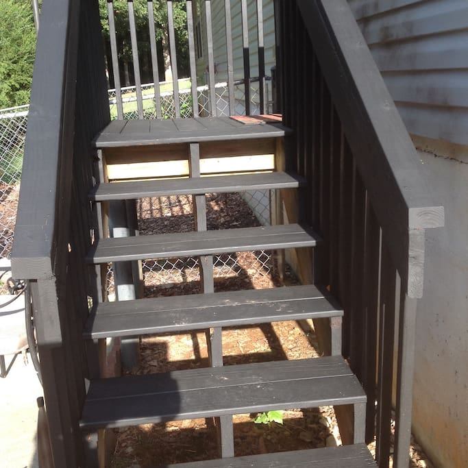 Executive suite walkway stairs.
