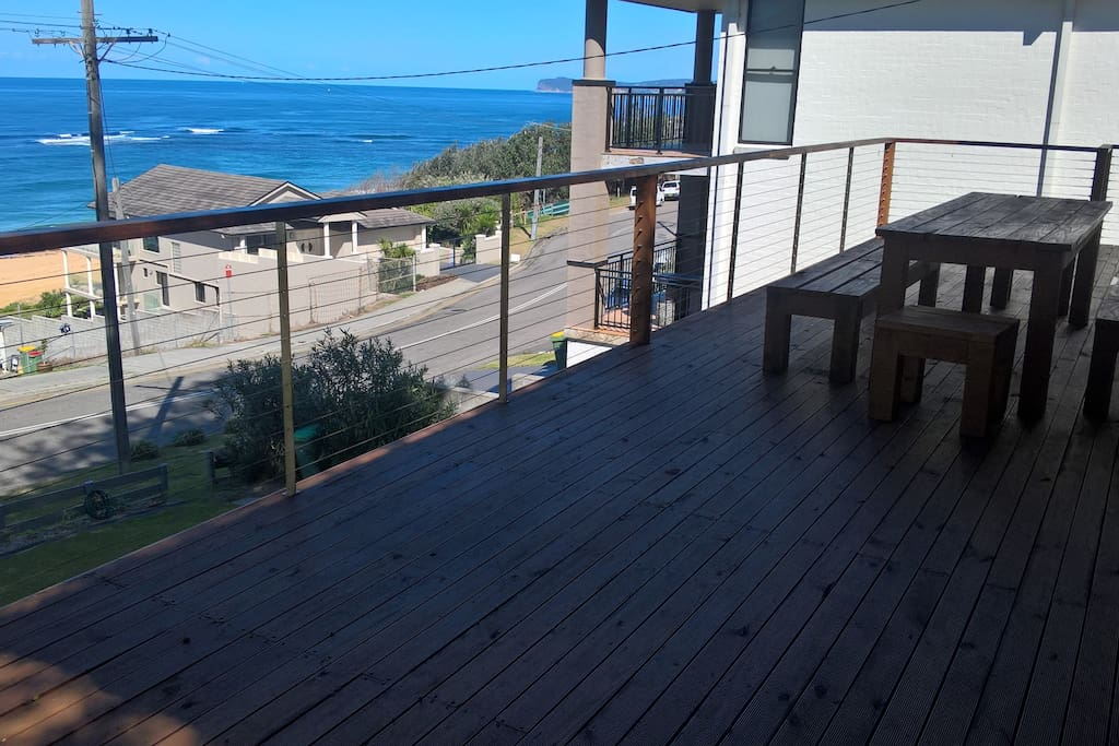 Huge front deck overlooking the ocean. Look out for those whale pods!