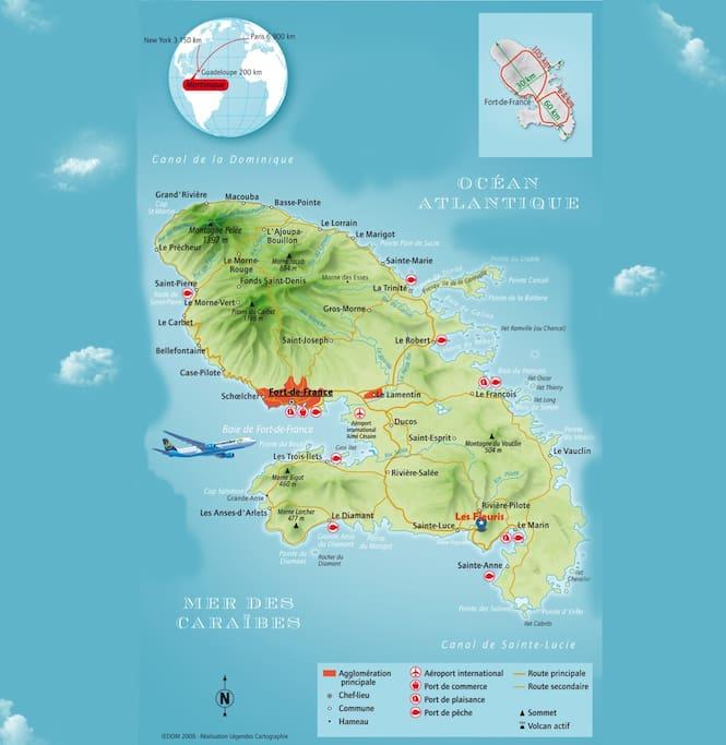Localisation au sud de la Martinique, dans la ville de Rivière-Pilote