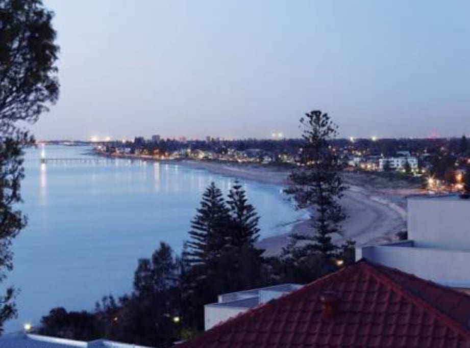Kingston Park by night. Our house is 100m to the clifftop.