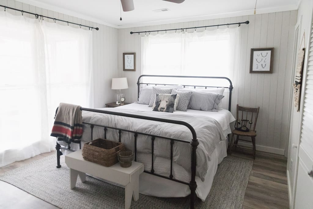 Spacious memory foam king sized bed in the master bedroom