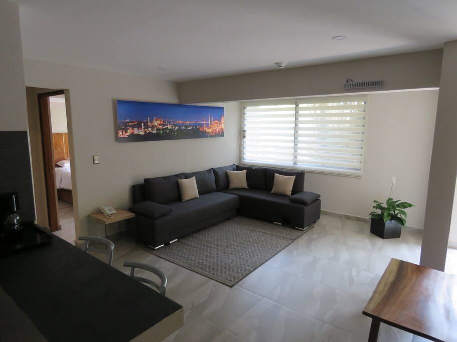 Amplia estancia, con sala y balcón vista hacia la calle.
