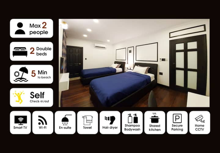 ✌Easeful 2F Ensuite BR 2 Guests w Best Roof Garden