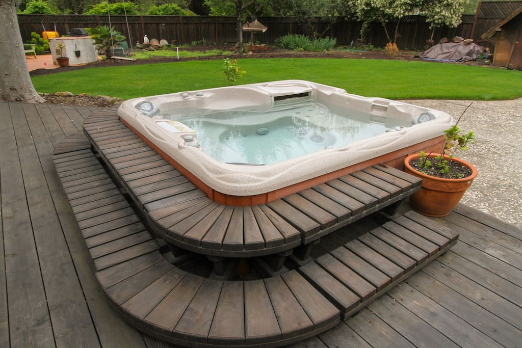 Hot tub and new lawn.