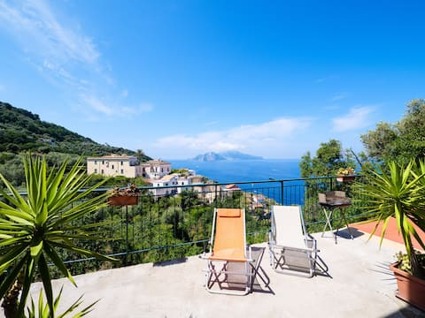 Accomodation with large balcony with Capri view