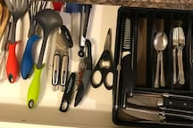 Cutlery, bottle opener and cooking utensils