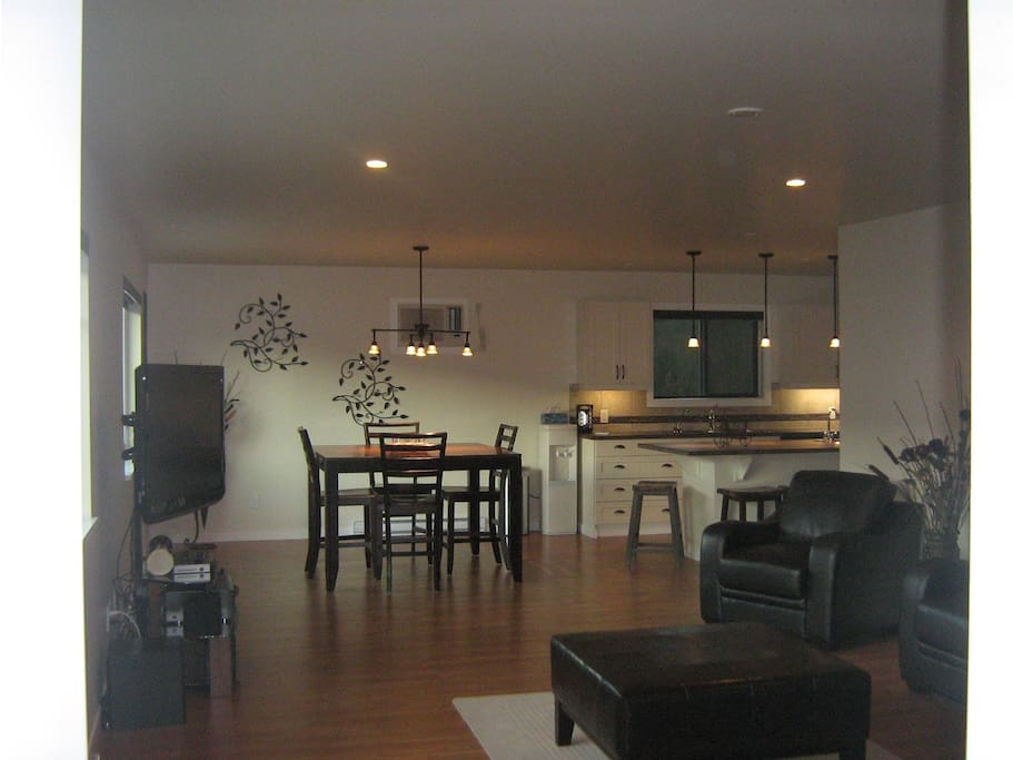 Part living room and dining area.