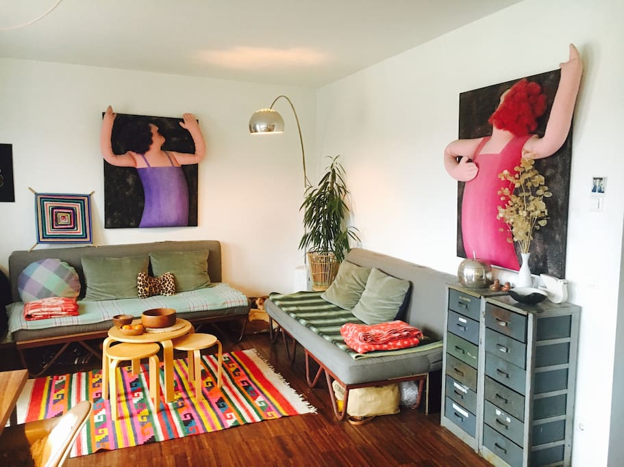a colourful living room