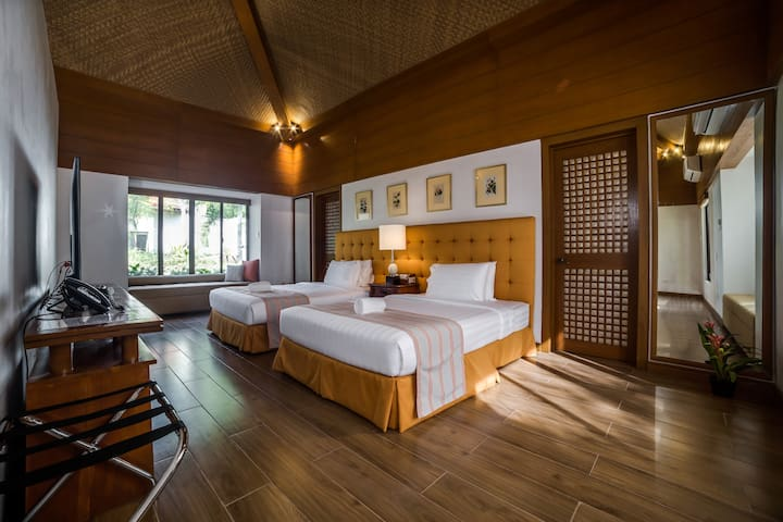Our two bedroom villa - our villa can expand to 5 persons with two extra twin beds and a sofa bed.