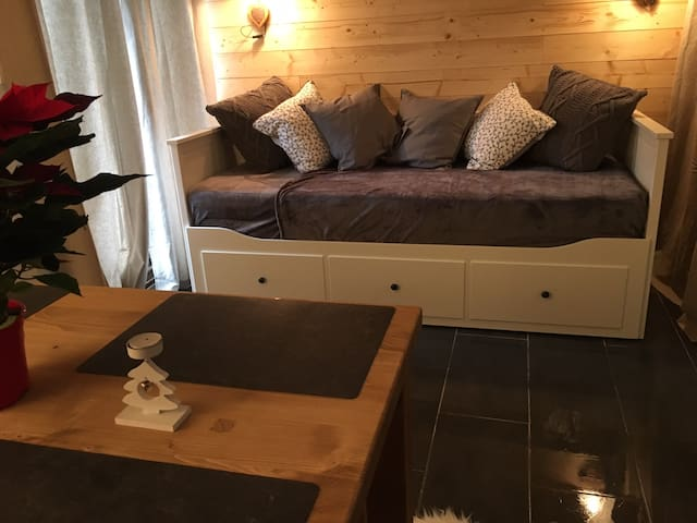 Alpine studio apt within 5 mins of Morzine/Lake.