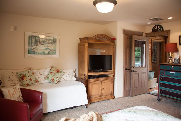 Your private suite with comfortable Queen Bed, trundle twin bed, seating, HD flat screen TV w Roku for access To Netflix & Amazon plus a DVD player & DVDs. Games, puzzles, books & toys for children.