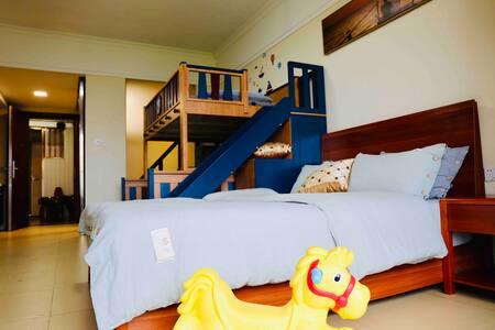 「海岛民宿」果果诺诺的家 -- 海陵岛十里银滩海上星座家庭亲子海景房(儿童滑梯床)