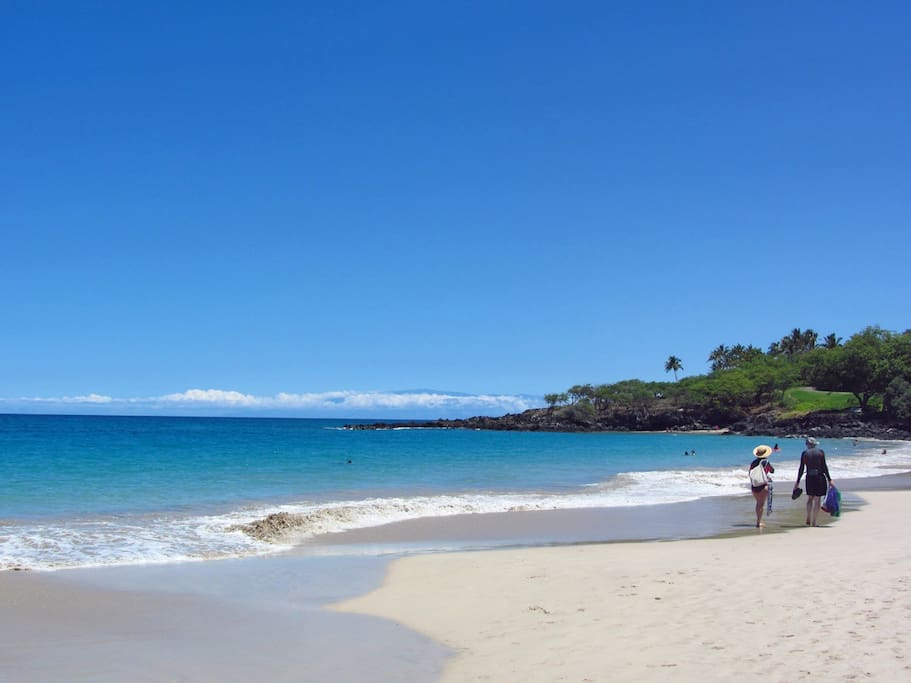 Nearby Hapuna Beach for long walks and boogie boarding