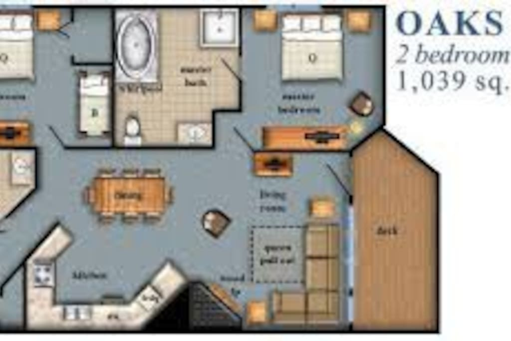 This is the room configuration for this 2bd unit.