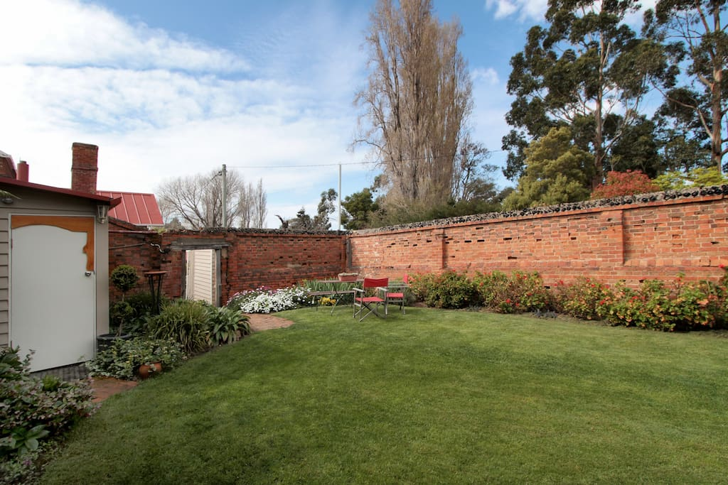 The private, walled garden at The Hall