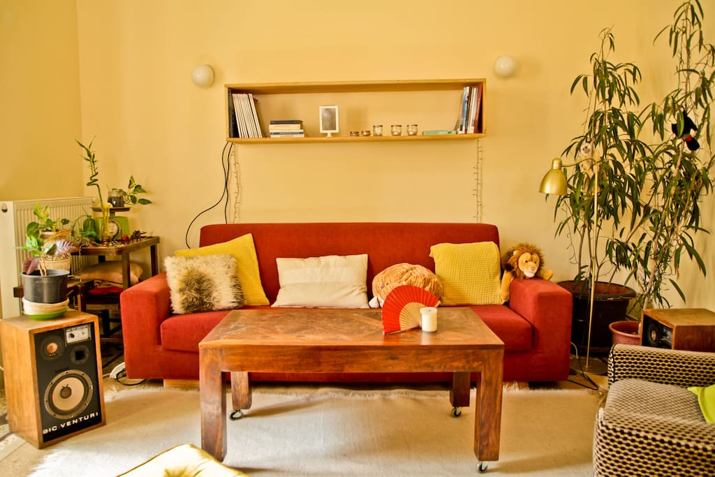 Close up of the warm colors/cosy living room!