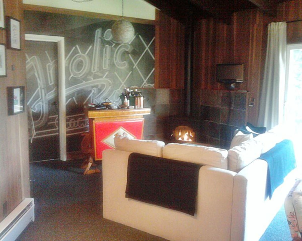The living room with vintage camel bar, sofabed, and gas fireplace.