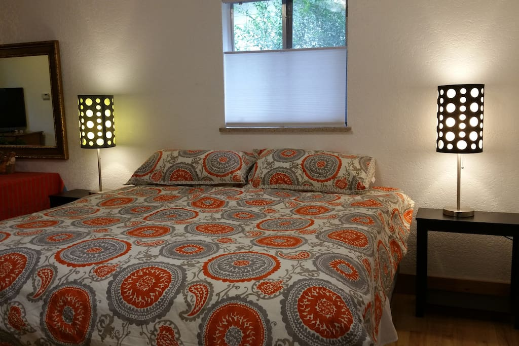 Comfy king size bed with adjacent walk in closet for your use