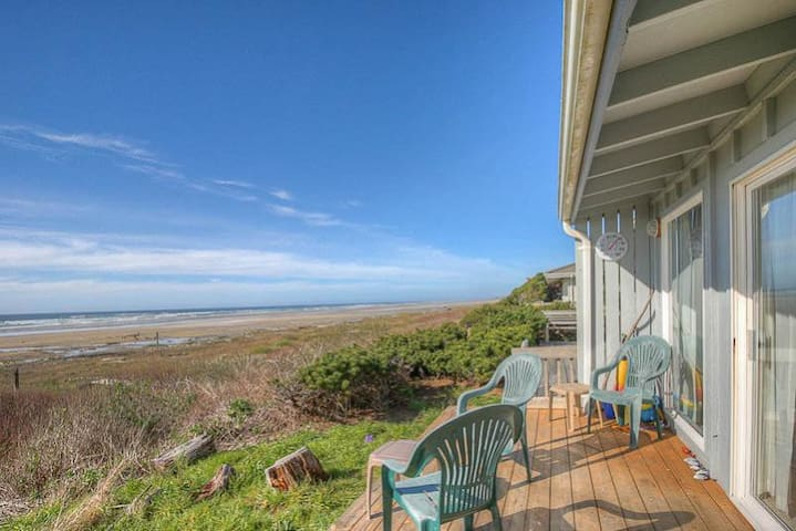 Al Manar - Oceanfront Tri-Level has Huge Stone Fireplace, Sliders to Deck and Private Access Just Steps to the Beach!