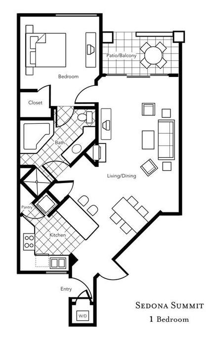 1 Bedroom FloorPlan. We offer Studio, One, Two and Three Bedroom Villas.  Plus 4 Heated Pools & 6 Hot Tubs. Voted Top 5 Best Places to Stay in Sedona. Sedona Vacation Rental