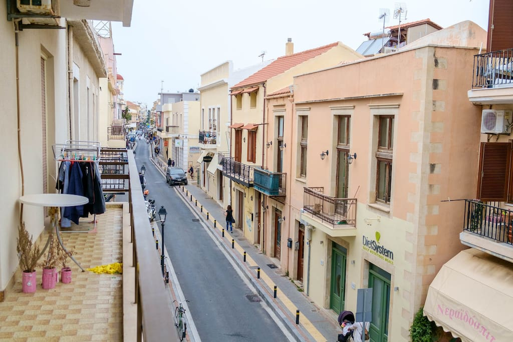 View of the central Gerakari street of Rethymno from the bedroom Balcony at the first floor