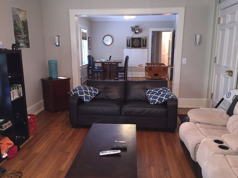 Living room - couch, dual recliner, coffee table