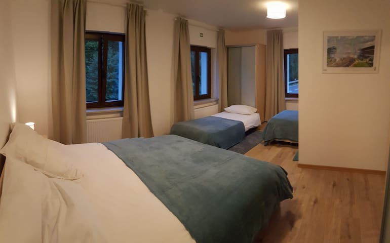 The bedroom, with extra 3rd bed for 4 adult guests.