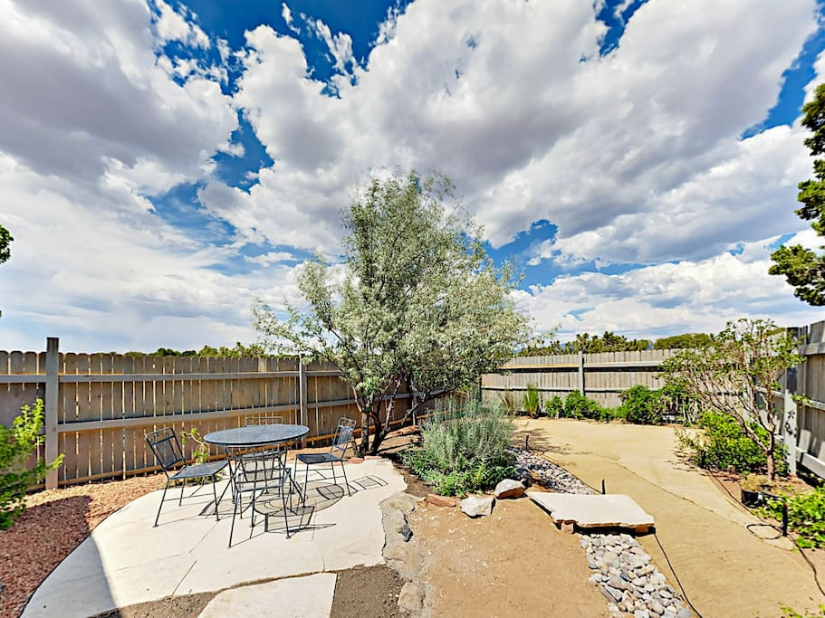A large private yard offers a great spot to enjoy the blue skies and fantastic weather.