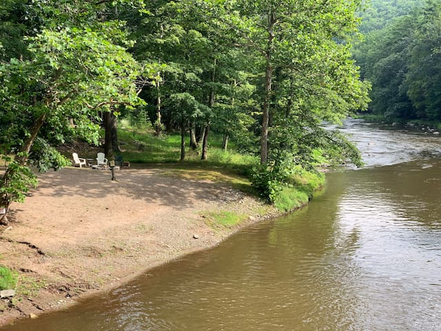 Neversink Riverfront House with Private Beach